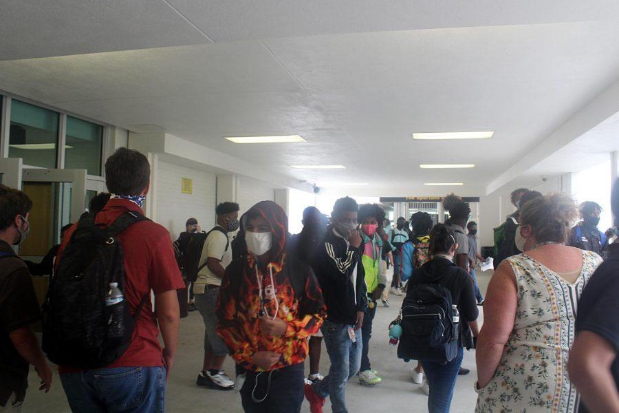 Masked Students Walk