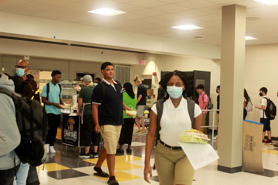 Students grab lunch on Aug. 11, the first day of school.