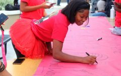Senior Sara Walker signs the senior banner during Class Color Day Oct. 6.